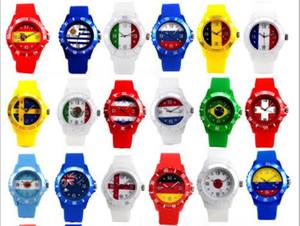 2018 Rusia diseño reloj de la Copa del Mundo, edición conmemorativa reloj bandera Abanicos de la Copa del mundo reloj de la bandera nacional exclusivo reloj de regalo trofeo de fútbol