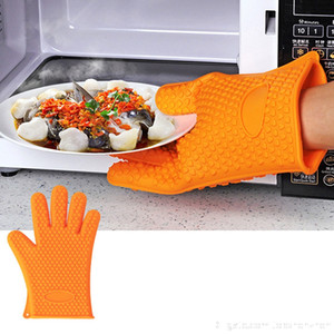 Silicone Cooking Gloves Heat Resistant Oven Glove Thick Cooking BBQ Grill Glove Oven Cooking Baking BBQ gloves Holder
