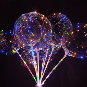 Globos LED de fiesta luminosa de 20 pulgadas de Navidad Globos de iluminación intermitente de color transparente con decoraciones de fiesta de bodas de poste de 70 cm