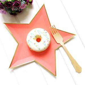 Akşam Pastalar Parti Malzemeleri için 8 adet Karışık Renkli Altın Folyo Star Kağıt Tabaklar Parti Dekorasyon Disposable Sofra Kağıt Tabak