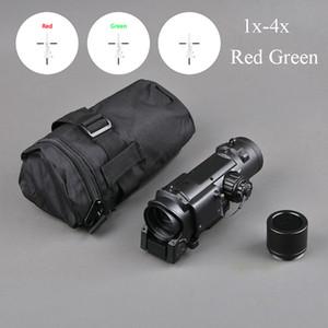 Тактический прицел быстроразъемные 1X-4X Регулируемый двойной роли Sight красный и зеленый Оптика Охота Scope