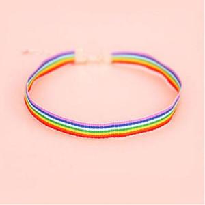 collana di pizzo da uomo Collana da choker arcobaleno Gay Pride arcobaleno Gay e Lesbian Pride Colletto a nastro in chocker di pizzo con gioielli pendenti