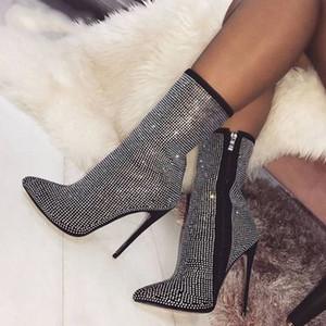2018 Novo Design Cristal Flock Mulheres Botas Dedo Apontado Sapatos de Salto Alto Outono Ankle Boots Trecho Mujer Apricot preto tamanho 42