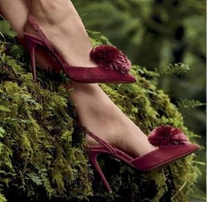 2018 nuevas mujeres Zapatos de fiesta de tacones altos Punta puntiaguda Bombas de terciopelo Zapatos de vestir Zapatos de tacón fino borla bombas flecos tacones