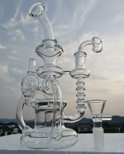 """Reciclador de vidro de 10 """"com bongo de quartzo de 4mm Recicladores de bongo de aço duplo com ponteira de vidro de 14.4mm ou acessórios para fumar"""