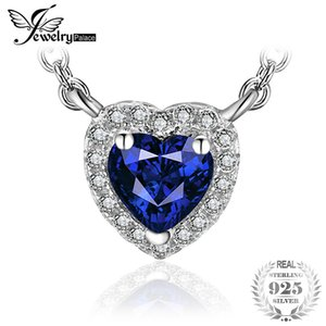 JewelryPalace Heart Of The Ocean 0.6ct Created Blue Sapphire 925 Sterling Silver Solitaire Pendant Necklace 18 Inches for Women Y18102910