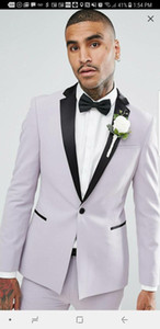 New Arrivals One Button Groom Tuxedos Notch Lapel Groomsmen Best Man Blazer Mens Wedding Suits (Jacket+Pants+Tie) D:363