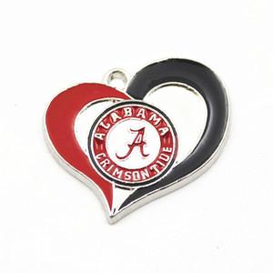 Горячие продать NCAA Алабама малиновый прилив команда сердце Шарм болтаться подвески Спорт подвески Diy браслеты ожерелье ювелирные изделия аксессуары висячие подвески