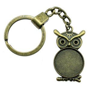 6 Pieces Key Chain Women Key Rings For Car Keychains With Charms Owl Single Side Inner Size 20mm Round Cabochon Cameo Base Tray Bezel Blank