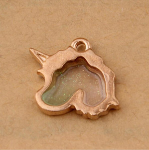 Sıcak moda yaratıcı 50 adet Unicorn / at başkanı alaşım Antik Altın charm küçük Kolye Kolye / Bilezik DIY Takı Aksesuarları-65