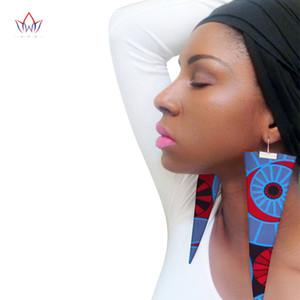 العصرية الأقراط النسيج الأفريقي أقراط اليدوية للنساء حزب هدية الأفريقية طباعة أنقرة الكبير المتضخم إسقاط أقراط WYB279