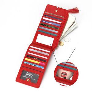 Женщины Мужчины Кожа PU Длинный кошелек сцепления Solid Card карманный телефон карман на молнии Внутри карман с Make Up Lens 6 Цвет X143