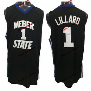 Vintage Damian Lillard Weber Staat Wildkatzen College Basketball Trikots # 1 Damian Lillard College Hemden Genähtes Trikot S-XXL