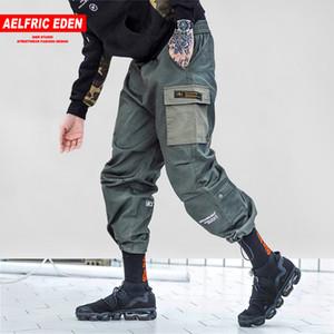 Pantalones Aelfrico Eden remiendo Harem Joggers monopatín de Carga Moda Hombres Streetwear Hip Hop Casual Hombre Pantalones Harem KJ237