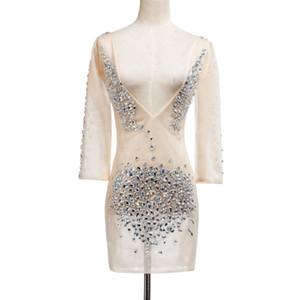 2018 robes de piste de femmes de luxe exquise sexy soirée robe de club F509 matériau net avec strass Deep V Neck