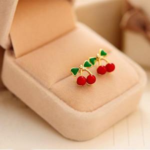 Charm Moda Elmas Büyüleyici Kadınlar Kırmızı Kiraz Kulak Studs Yeşil ilmek Kiraz Küpeler Meyve Takı Düğün Süsleme