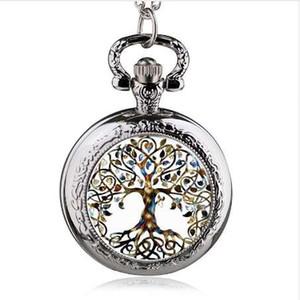 Mode Silber Edelstahl Baum des Lebens Kette Leucht Taschenuhr Halskette Frauen Schmuck Glühende Anhänger Kette