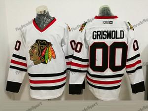 Mens Vintage Chicago Blackhawks Hockey Jerseys branco 00 Clark Griswold Vintage CCM Moive National Lampoon férias de Natal Jerseys