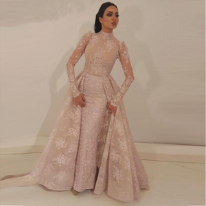 2020 High Neck Mermaid Prom Dresses Detachable Train Blush Pink Full Lace Appliqued Illusion Bodice Long Sleeves Formal Evening Gowns BA9531