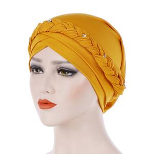 Yeni Stil Pamuk Şapkalar Headwrap Afrika Noktası Matkap Süt Ipek Kafa Wrap Büküm Saç Bandı Hindistan Caps Turban Bandana Accessoires