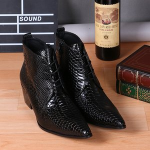 Spring Men Dress Shoes Pointed Toe Snakeskin Design Lace Up Mens Boots Black Wedding Ankle Boots Work Business Oxfords Genuine Leather Shoes
