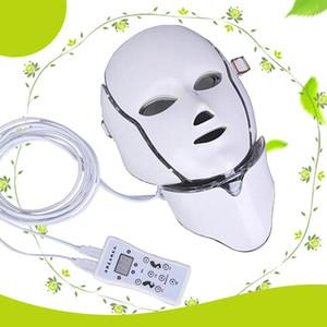 MOQ 1 Pcs 7 LED lumières masque facial facial de cou de rajeunissement de la peau LED de machine de thérapie de PDT de thérapie de Photon avec Microcurrent pour la peau blanchissant CE