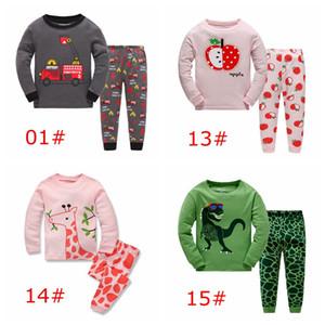 xmas Apple Giraffe niños pijamas 2 piezas conjunto muñeco de nieve alces santa impresión completa tops rosa bebé 100% algodón pp pantalones 2-7 años más de 12 estilos elegir