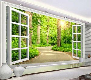 العرف صور خلفيات hd الأخضر الطازجة مسار الشمس المشرقة الغابات الطبيعة المشهد 3d جدارية غرفة المعيشة التلفزيون أريكة خلفية خلفية