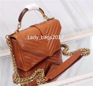 Yüksek kaliteli Şekli Flepler Zincir Çanta hakiki deri ahşap saplı Çanta Omuz Çanta Messenger çanta Bez