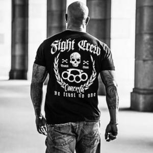 Venta caliente camiseta de los hombres de moda del equipo Lucha Camisa del tatuaje del motorista Rocker Bad Boys Streetwear combate verano del O-Cuello Tops