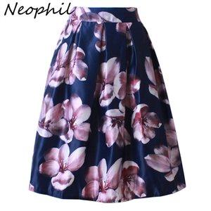 Neophil 2018 Ретро мода женщин Черный Белый плиссированной Цветок Цветочные печати бальное платье высокой талией Midi Flare Короткие юбки Saia S1225