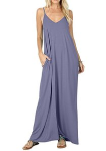 Kadınlar Katı Uzun Plaj Maxi Boho Elbiseler Yaz Rahat Spagetti Kayışı Elbise Giyim