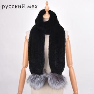 Rex rabbit fur scarf Silver Fox Fox Ball Scarf