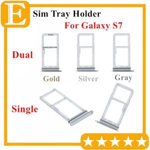 Ranura del soporte de la bandeja de la tarjeta de memoria Micro SD de Double Sim del 100% nuevo para Samsung Galaxy S7 G930 Dual Single Sim Tray 10PCS