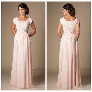 2019 errötende rosa lange formale in voller Länge Chiffon benutzerdefinierte Brautjungfernkleider mit Flügelärmeln Perlen geraffte Tempel Brautjungfern Party Kleid