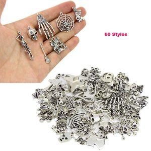 Nouveau Mix 60 Style Antique Argent Animal Crâne Pendentif Perles Lâches Charme Pour Halloween DIY Bijoux Pour Européenne Bracelet Collier Accessoires