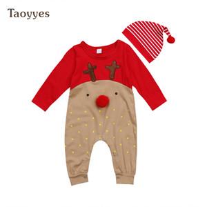 Navidad muchachas de los bebés reno de los mamelucos del mono de ropa Trajes de rayas sombrero 2 piezas Conjunto infante recién nacido puntos pijamas de Navidad Ropa de bebé
