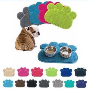 14 Renkler Köpek Yavru Paw Şekli Placemat Pet Kedi Çanak Kase Besleme Gıda PVC Mat Temiz LJJA469 Silin