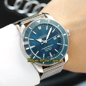 Süper Okyanus Mirası II 42 A1732136 | BA61 | 154A Mavi Kadran Japonya Miyota Otomatik Mens Watch Yeşil Seramik Bezel Paslanmaz Çelik Bant Saatler