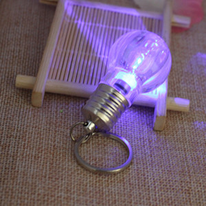Key buckle Light Bulb Ring Keychain Electronics Lamp Torch bag key chains Crystal Keyring Car Key Chain Women Holder
