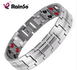 Ювелирные изделия Rainso Мода Healing FIR Магнитный браслет титана Биоэнергетика для мужчин кровяного давления Аксессуар Серебряные браслеты