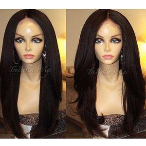 Longue perruque yaki avant de dentelle synthétique cheveux aspect naturel droite perruque de dentelle de cheveux pour les Afro-américains woman12-30inch résistant à la chaleur