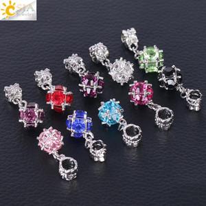 CSJA Claro Cubic Zircon Beads Charms Forma de Bola Cuelga Colorido Cristal Espaciador de Cuentas Sueltas para Pulseras Pulsera Diy Accesorios de Joyería F369