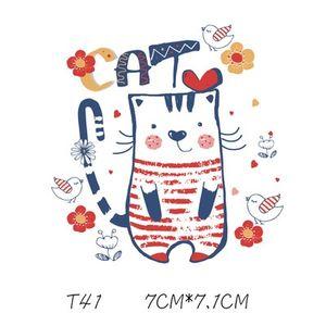 Çocuk Yamalar Için Güzel Karikatür Kedi Sticker Karikatür DIY Çıkartmalar T Shirt Komik Demir-on Transfers Için Giysi Yamaları
