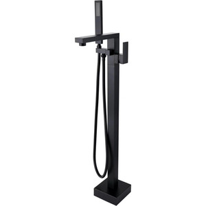 Rolya Square Style Matte Black Free Standing Bathtub Faucets Floor Mounted Bath Filler Taps