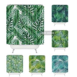 Sweetenlife 열대 샤워 커튼 폴리 에스테르 패브릭 간단한 욕실 커튼 디자인 그린 식물 커튼 목욕 방수 180CM