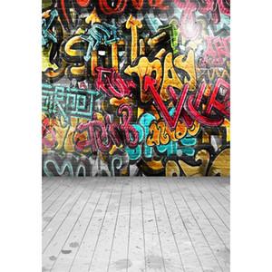 Pintado digital de pared de fondo de Graffiti Fotografía Niños Niños Fondos de estudio Suelo de madera Vinilo Sesión de fotos Contextos