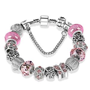 925 de prata banhado contas de cristal borboleta chamrs pulseiras para pandora charm bracelet bangle diy jóias para mulheres