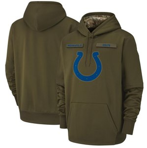 2018 uomini Indianapolis Felpa Colts Salute al servizio di Sideline Therma Performance Pullover Felpa con cappuccio Olive