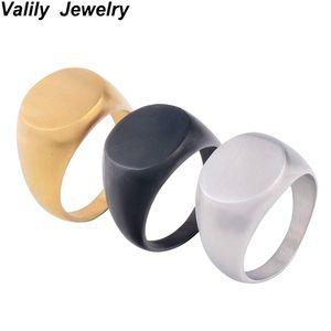 Valily Jóias Anel de Sinete dos homens Simples Oval Fosco Anel de Sinete de Ouro Anéis de Aço Inoxidável moda Anel de Sinete para Os Homens Anel de Jóias
